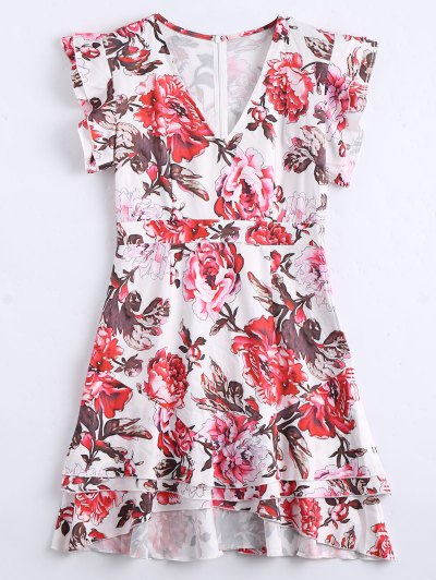 Ruffles Layered Floral A-Line Vestido - Floral M