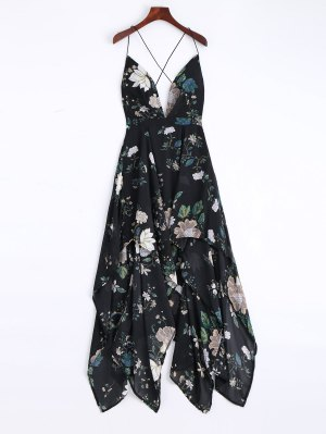 Cami Cross Back Floral Maxi Handkerchief Dress - Black L