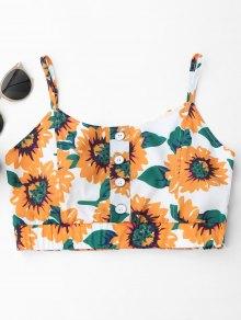 Button Up Sunflower Crop Top - White
