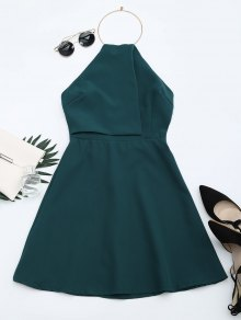 Open Back Ring Halter Flare Dress - Blackish Green M