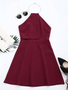 Open Back Ring Halter Flare Dress - Dark Red L