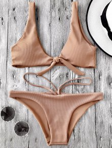 Knotted Textured Scoop Bikini Set - Camel M