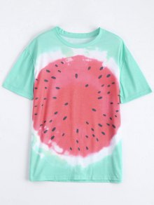 Cotton Watermelon Graphic T-Shirt - Green M
