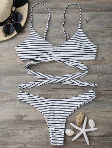 Striped Padded Wrap Bikini Set - White And Black S