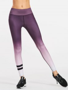 Slimming Ombre Yoga Leggings - Purple M