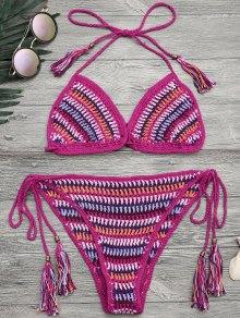 Halter Crochet Tassel String Bikini