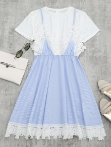 Lace Panel Striped Faux Twin Set Dress - Light Blue S