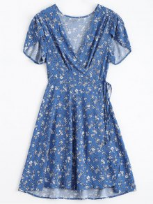 Tiny Floral Plunging Neck Wrap Dress - Blue S