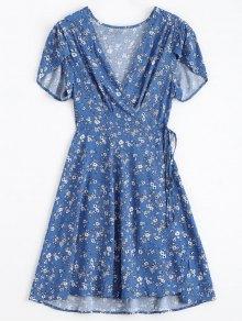 Tiny Floral Plunging Neck Wrap Dress - Blue M