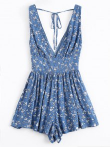 Tiny Floral Plunging Neck Smocked Romper - Blue S