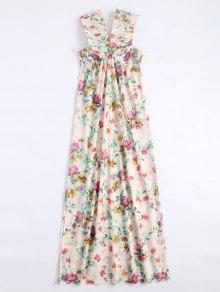 Vestido Largo Con Flecos Laterales En El Hombro - Floral M