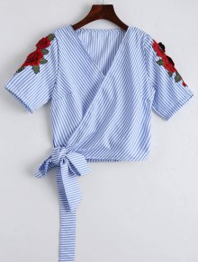 Stripes Floral Embroidered Patched Wrap Top - Stripe M