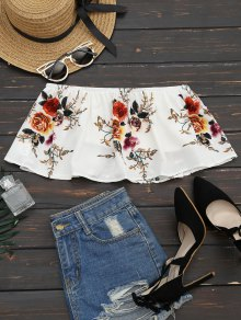 Smocked Ruffles Floral Cropped Tube Top - White M