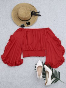 Ruffled Off Shoulder Smocked Blouse - Red S