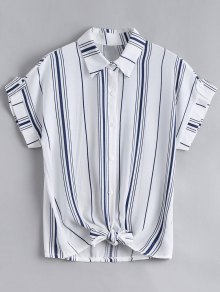 Button Down Stripes Bowknot Top - Stripe
