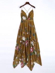 Cami Cross Back Floral Maxi Handkerchief Dress - Brown S