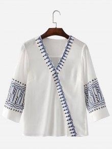 Embroidered V Neck Blouse - White M