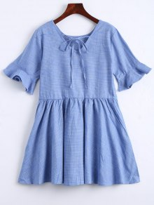 Ruffle Hem Checked Bowtie Dress - Light Blue L