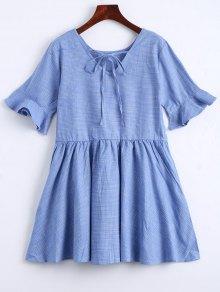 Robe Écossaise Ourlet Volants à Noeud Papillon - Bleu Clair Xl