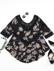 Floral Print Crochet Panel Asymmetric Blouse - Black