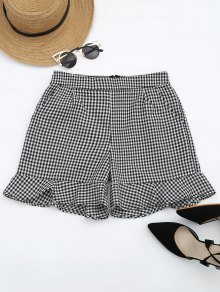 Ruffle Hem Checked Pocket Shorts - Checked M