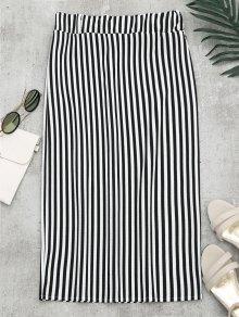High Waist Slit Striped Skirt - Stripe M