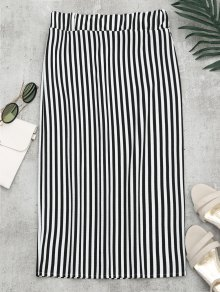 High Waist Slit Striped Skirt - Stripe Xl
