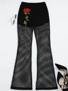 Floral Patched Fishnet Boot Cut Pants - Black L