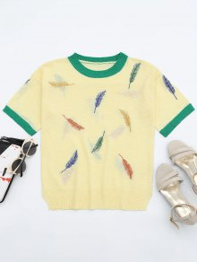 Leaves Patchwork Short Sleeves Knitted Top - Yellow