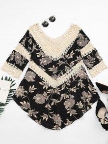 Floral Print Crochet Panel Asymmetric Blouse - Apricot