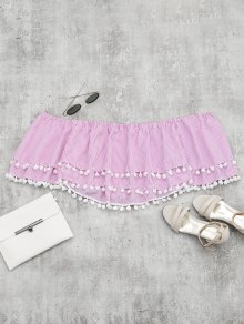 Embellished Striped Tiered Crop Blouse - Pink S