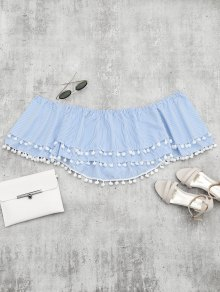 Embellished Striped Tiered Crop Blouse - Light Blue M