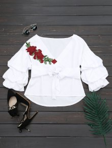 V Neck Floral Patched Belted Blouse - White S