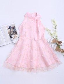 Mesh Panel Bowknot Embellished Flare Dress - Pink S