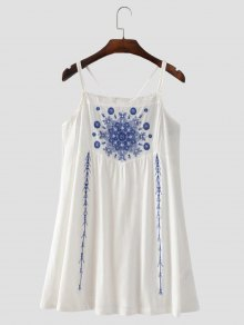Floral Embroidered Criss Cross Cami Dress - White S
