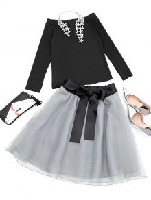 Off The Shoulder Tee And Skirt Set - Black
