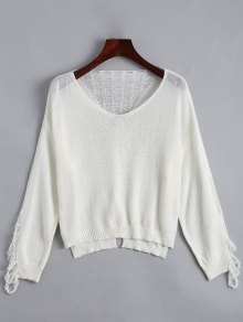 V Neck Ripped Long Sleeve Knitted Top - White