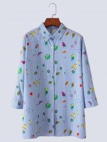 Fruit Print Button Up Slit Striped Shirt - Light Blue L