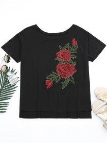 Floral Patched Slit Drop Shoulder Tee - Black Xl