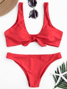 Knotted Scoop Bikini Top And Bottoms - Red M