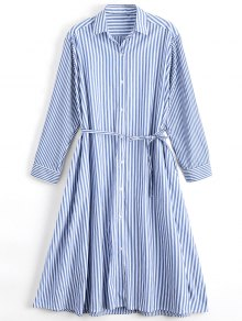 Long Sleeve Belted Stripes Shirt Dress - Stripe L