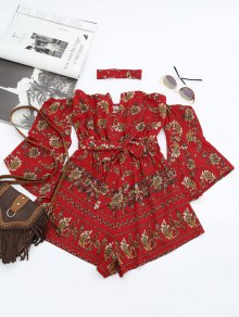 Floral Belted Choker Romper - Red S