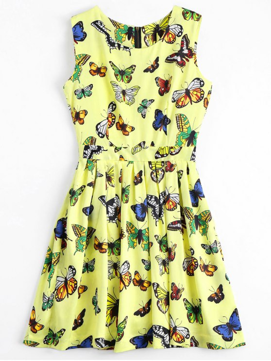 lady Back Zipper Butterfly Graphic Mini Dress - YELLOW S