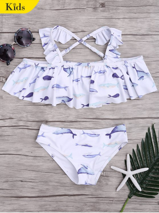 Dolphin Imprimir Flounce Kids Bikini Set - Blanco 6T