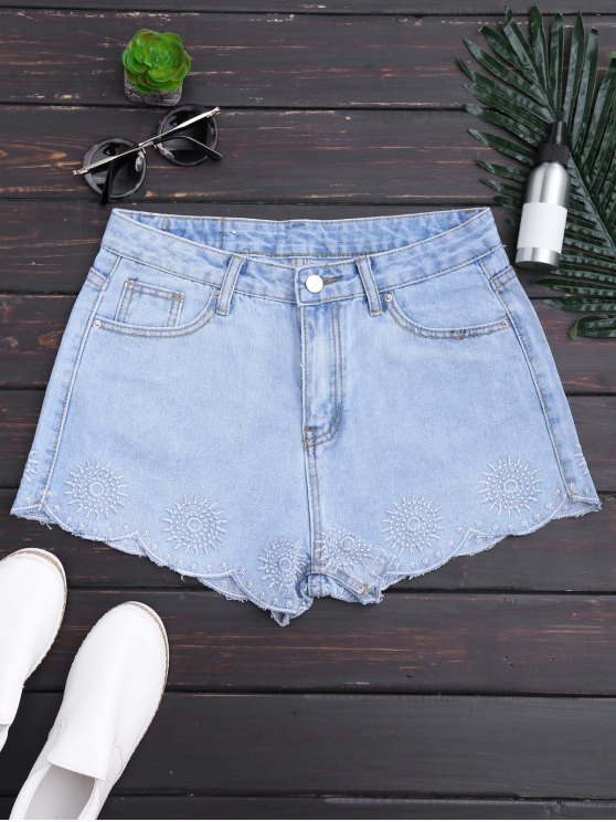 affordable Embroidered Scalloped Denim Shorts - DENIM BLUE S