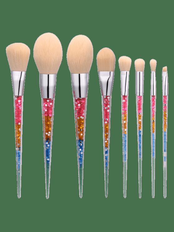 8Pcs Ensemble de brosse à maquillage en forme de nylon en forme de nylon - Multicolore