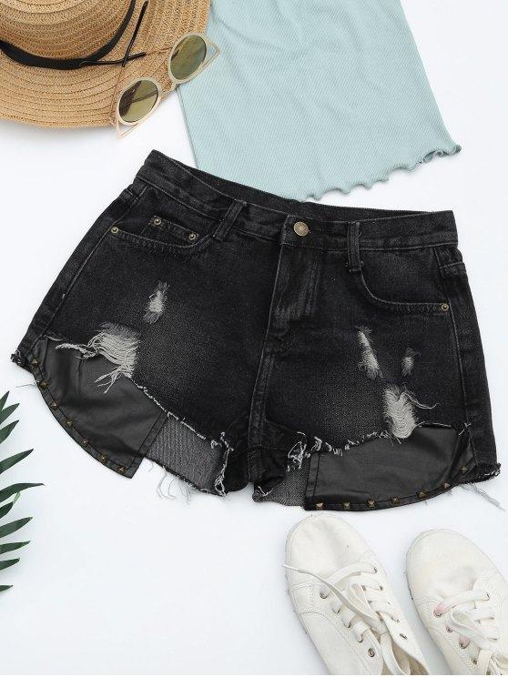 Pantalones cortos rasgados del dril de algodón del panel de la PU de los cortes - Negro L