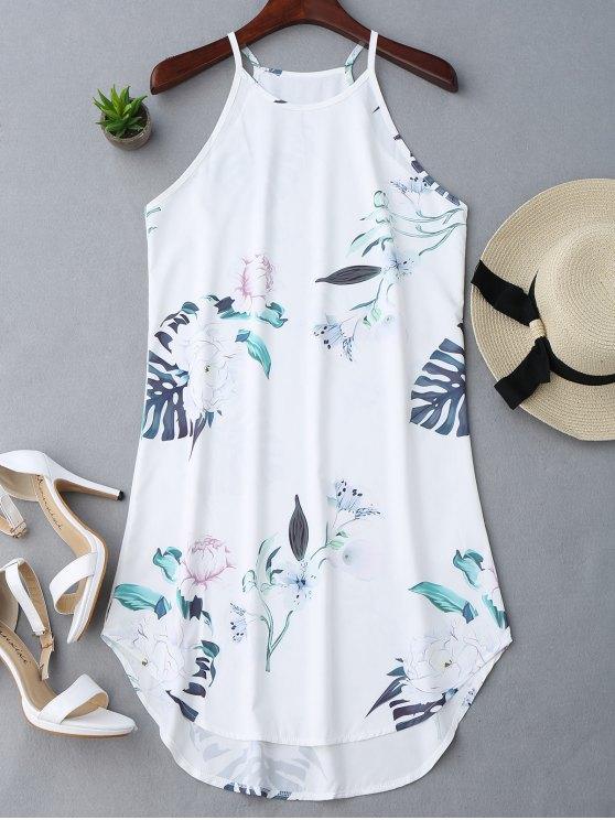 Vestido con Tirante Fino con Estampado Floral - Blanco L