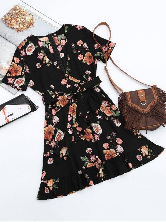 فستان زهري غارق الرقبة كشكش كهنوتي - أسود L