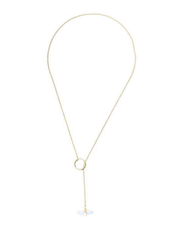 new Bullet Shape Natural Stone Necklace - GOLDEN